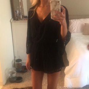 Black romper with  3/4 bell sleeve